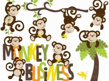Monkey Swinging In A Tree Clipart.