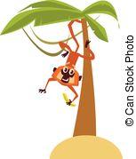 Vector Illustration of Monkeys playing on swing.