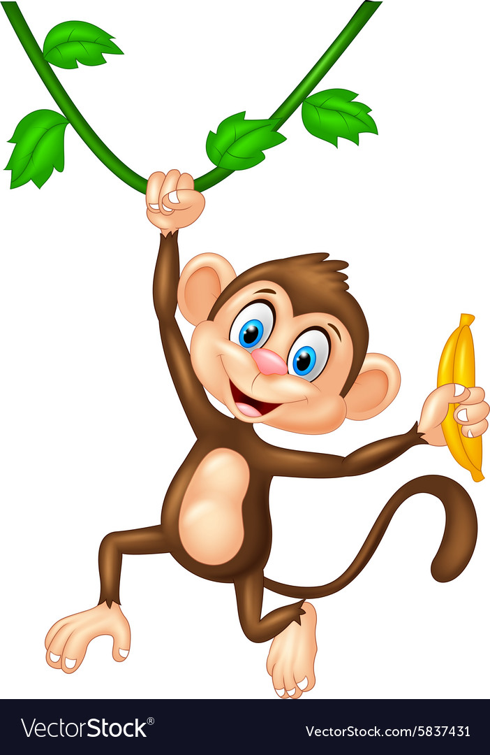 Cartoon monkey holding banana fruit.