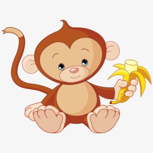 Monkey Eating Banana Cartoon , Transparent Cartoon, Free.