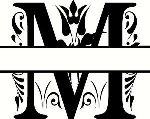 Letter m monogram clipart.