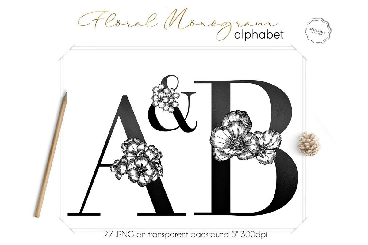 Floral Monogram Letters Clipart.