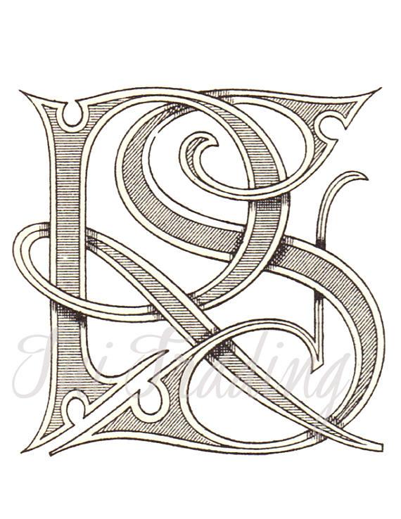R S Digital Stencil, RS Monogram, R S Logo or Letters, Initials.