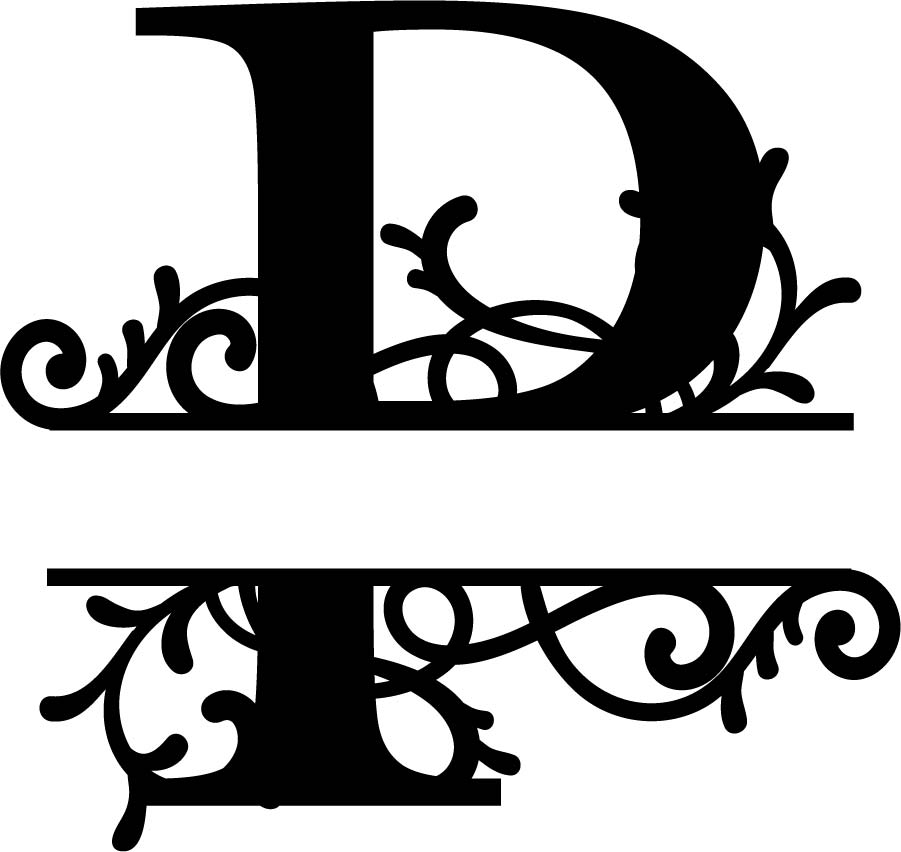 Split Monogram Letter P DXF File Free Download.