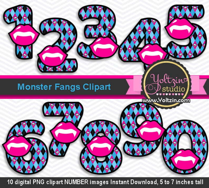 Monster high clipart numbers, monsters clipart pink blue age, my first  halloween fangs vampire clipart digital clip art png images black.