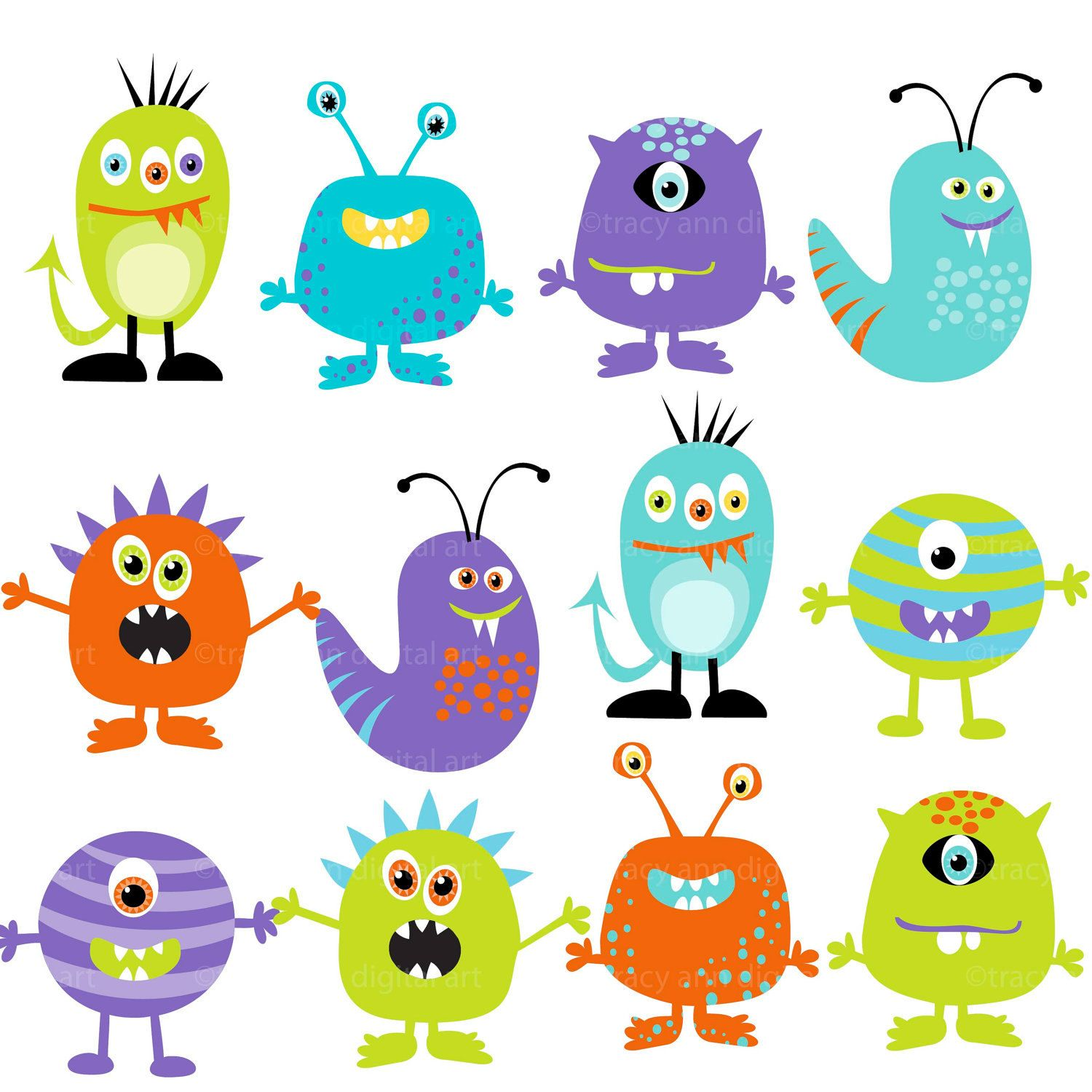 Monster Clipart Digital Monsters.