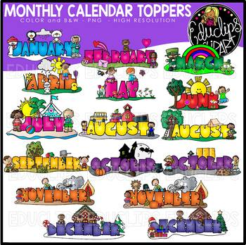 Monthly Calendar Toppers Clip Art Bundle {Educlips Clipart}.