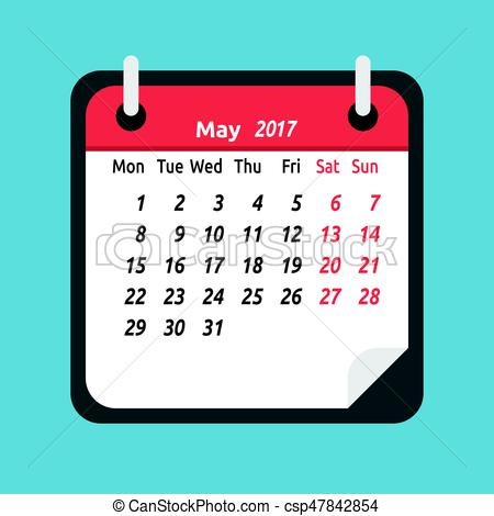 Monthly calendar, May 2017.