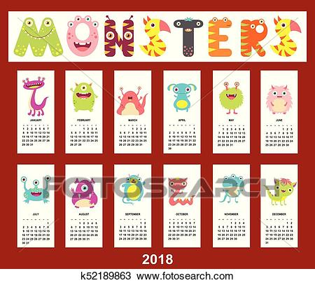 Monthly calendar 2018 with cute monsters Clipart.