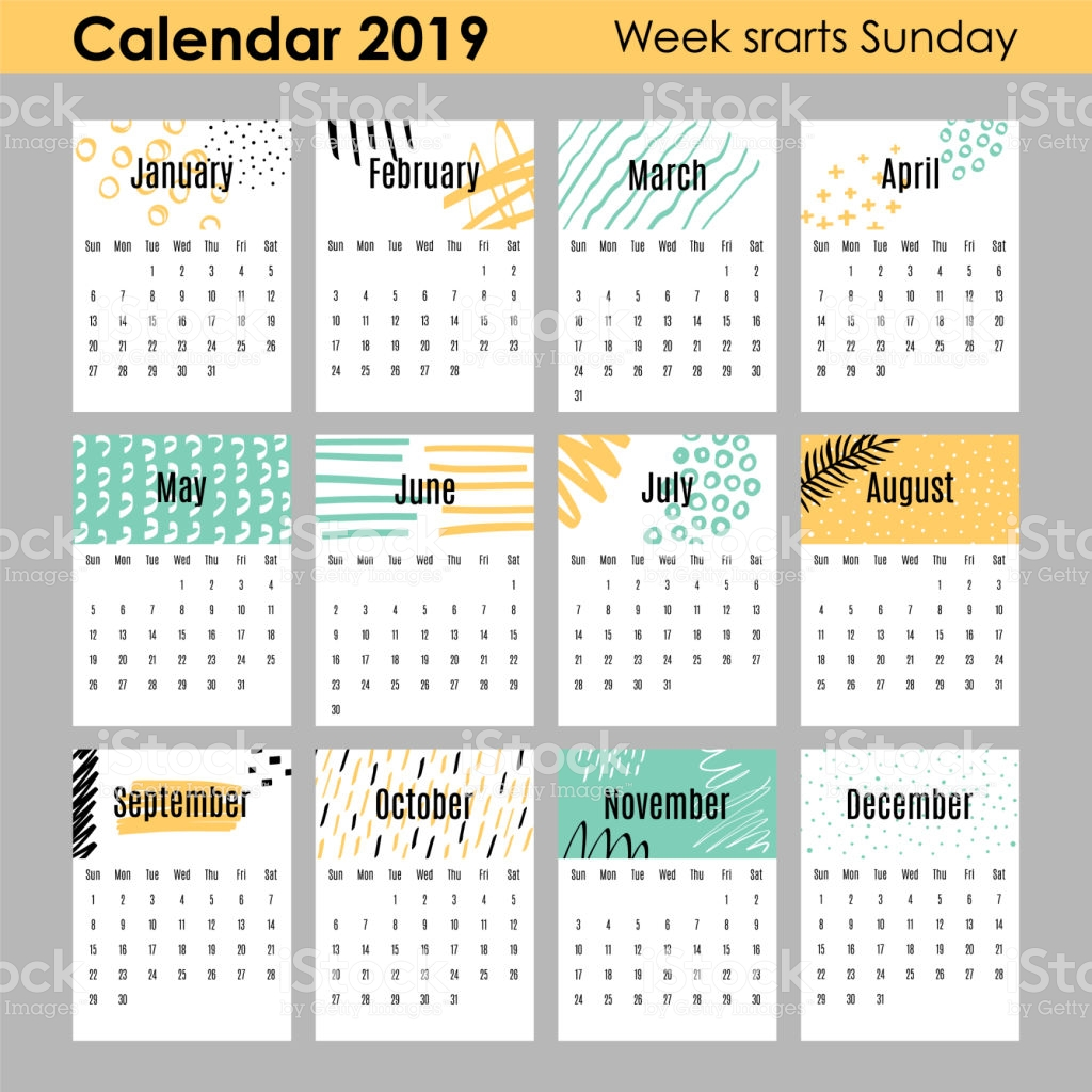Modern Creative Calendar 2019 12 Design Templates With Hand Drawn.
