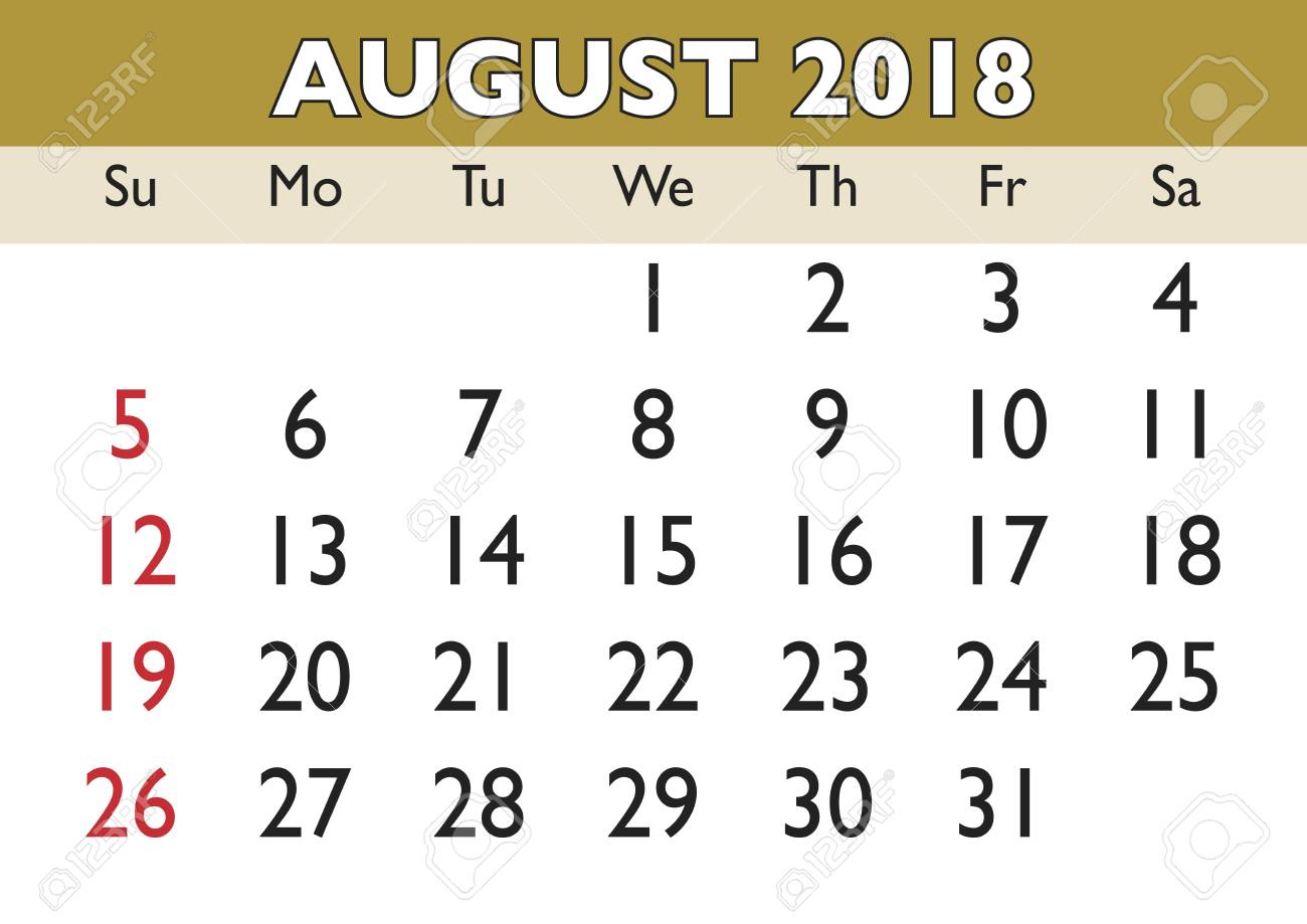 2018 calendar August month. Vector printable calendar. Monthly...