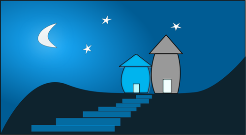 Vector clip art of two houses at moonlight.