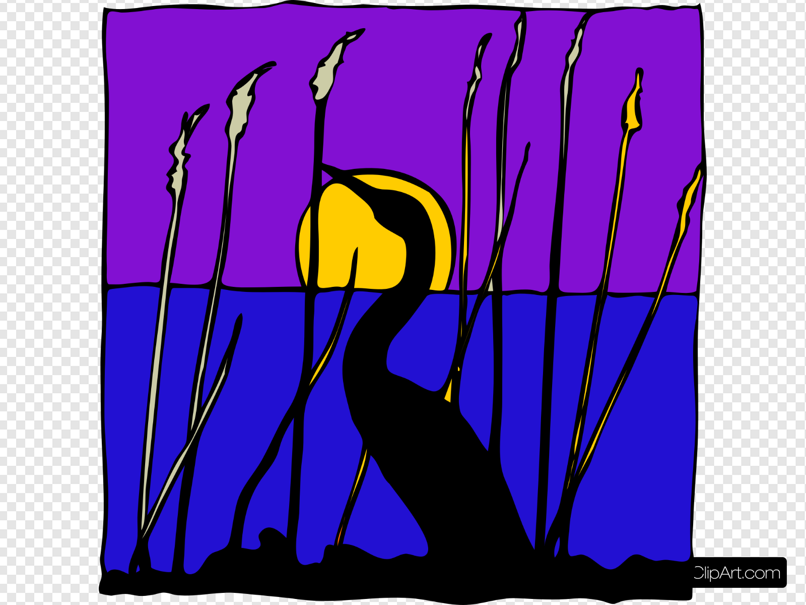 Swan Silhouette In The Moonlight Clip art, Icon and SVG.