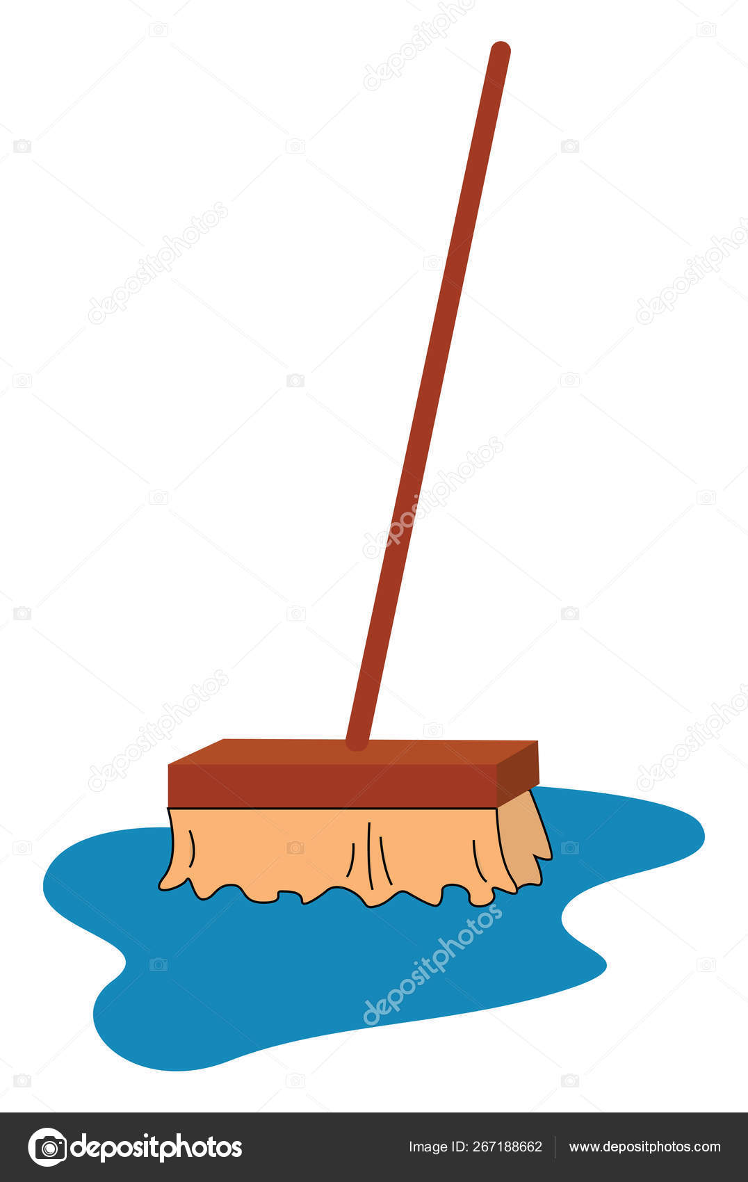 Clipart of a mop cleaning the foreground spilled with the runnin.