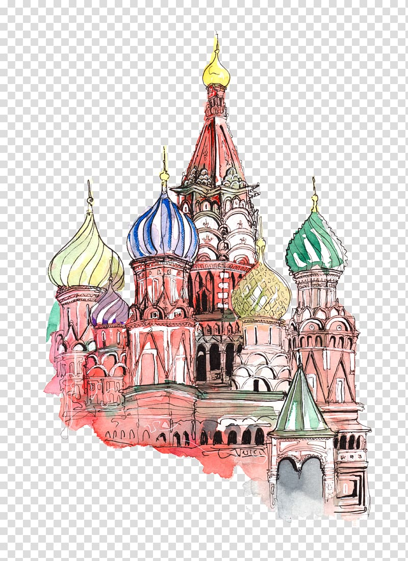 St. Basil\'s Cathedral illustration, Red Square Moscow.