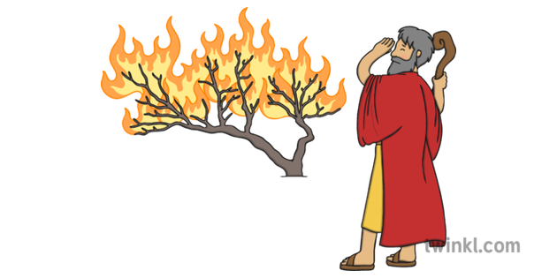 Moses and Burning Bush Illustration.