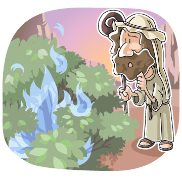 Christian clipArts.net _ Moses and the Burning Bush.