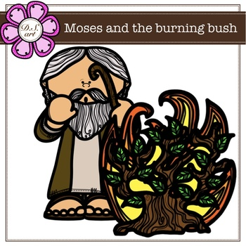 Moses and the burning bush digital Clipart (color and black&white).