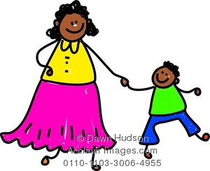 Clipart Image of A Happy Little Boy Holding Hands With His Mother.