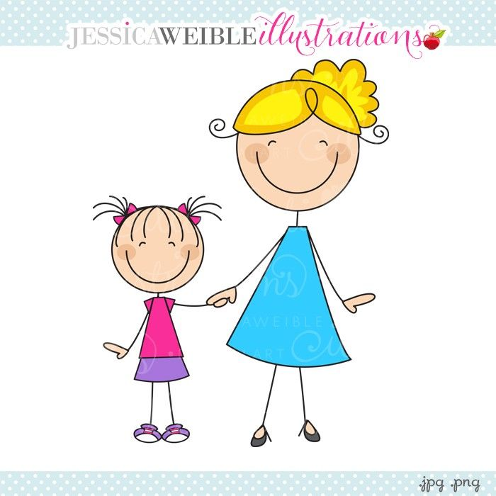 Showing post & media for Cartoon mom and daughter holding hands.