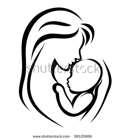 Creative Commons Mother Child Black And White Clipart Holding.