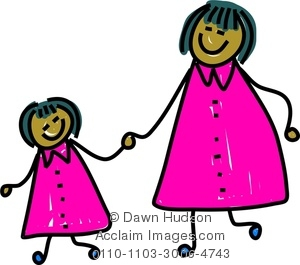 Mother And Child Holding Hands Clipart.
