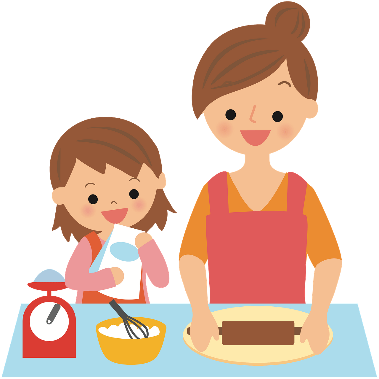 Baking with mother clipart. Free download..