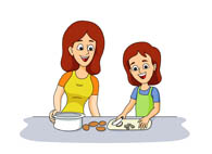 Mother Daughter Cooking Clipart.