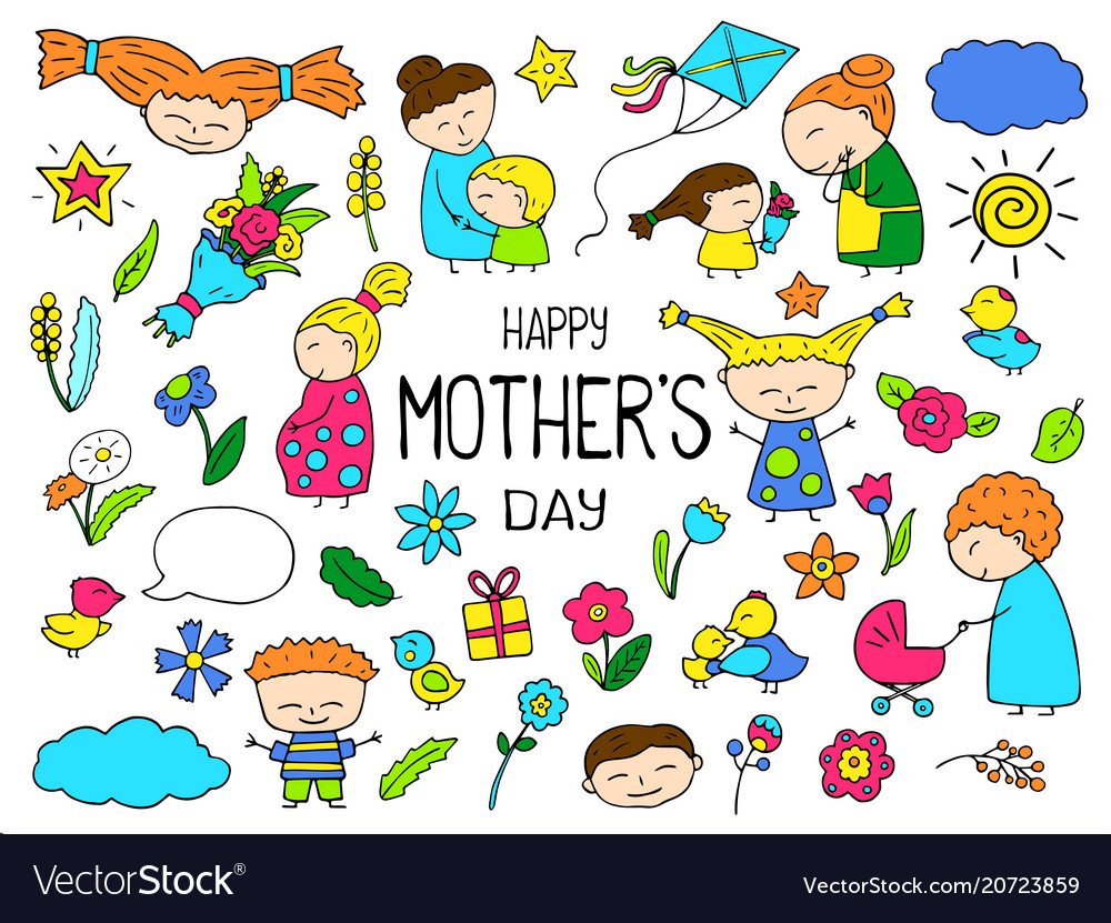 Happy mother day colorful clipart mom and.