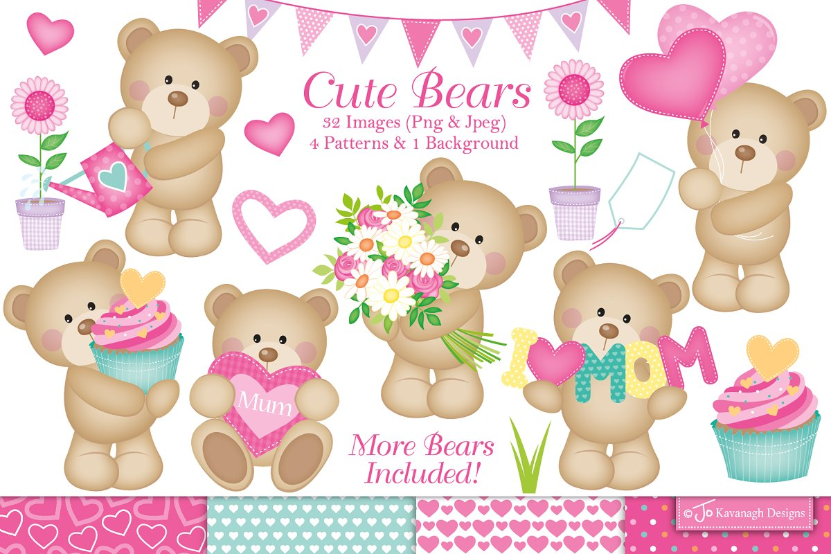 Mothers Day Clipart, Cute Bears.