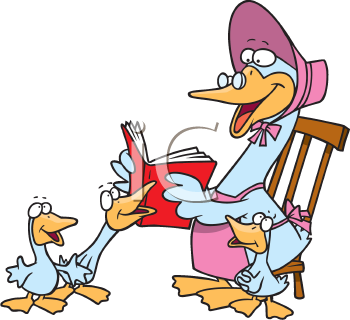 Royalty Free Clipart Image of a Mother Goose Reading a Story.