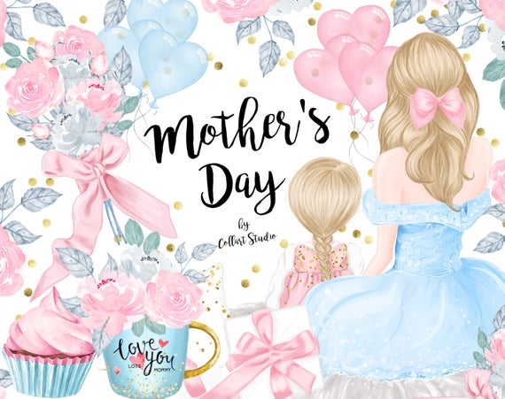 Mother's Day clipart, Children Illustrations, planner stickers, mother  daughter, mother son, mothers day gift card, valentine's day stickers.
