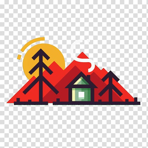 Mountain and green house digital art, Motion graphic design.