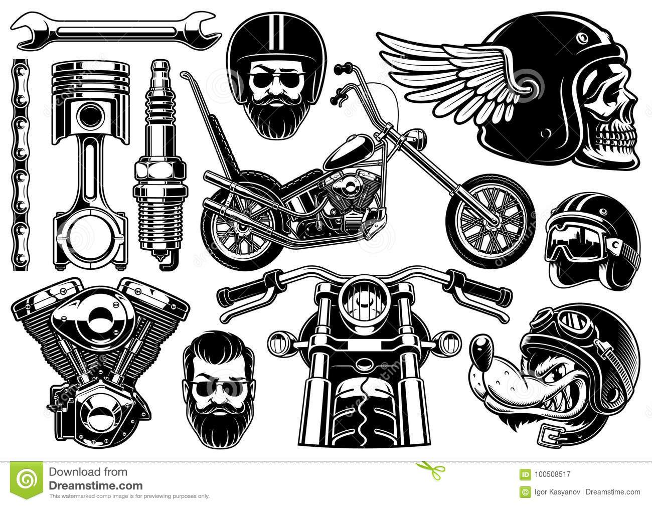 Motorcycle Clipart With 12 Elements On White Background Stock.