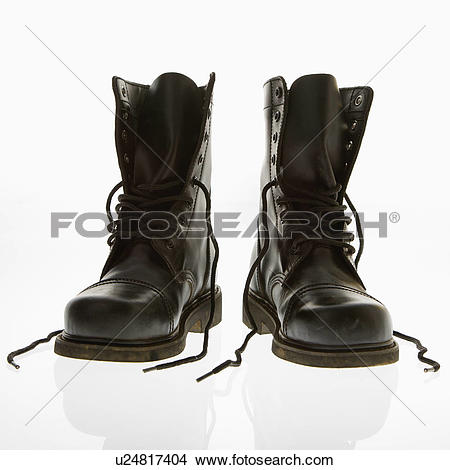 Stock Photo of Black leather high top boots with untied laces.