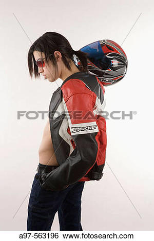 Stock Images of Portrait of teen boy with motorcycle jacket and.