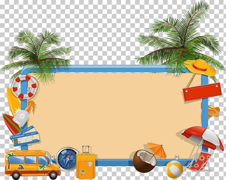 Summer vacation , beach elements, brown bulletin.