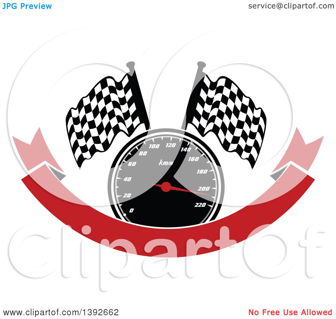 Clipart of a Motorsports Design of a Speedometer and Checkered.