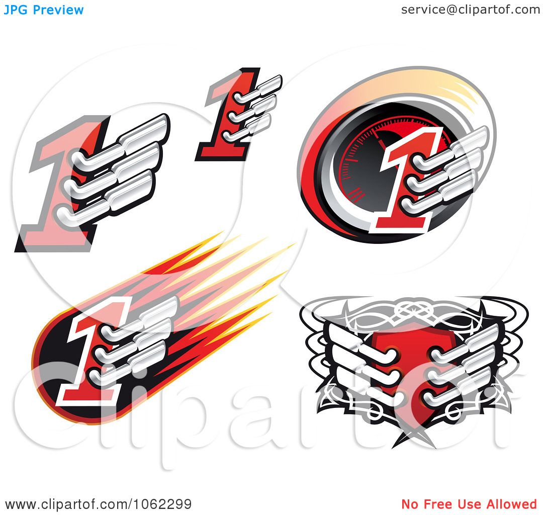 Clipart Motorsports Icons Digital Collage.
