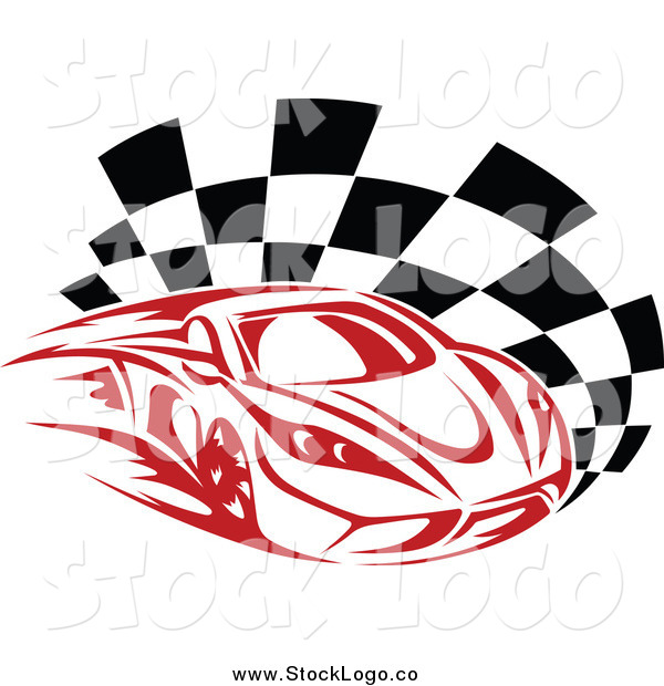 Vector Clipart of a Fast Red Race Car and Checkered Flag.