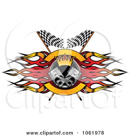 Clipart Flame, Flags And Piston Motor Sports Banner 2.