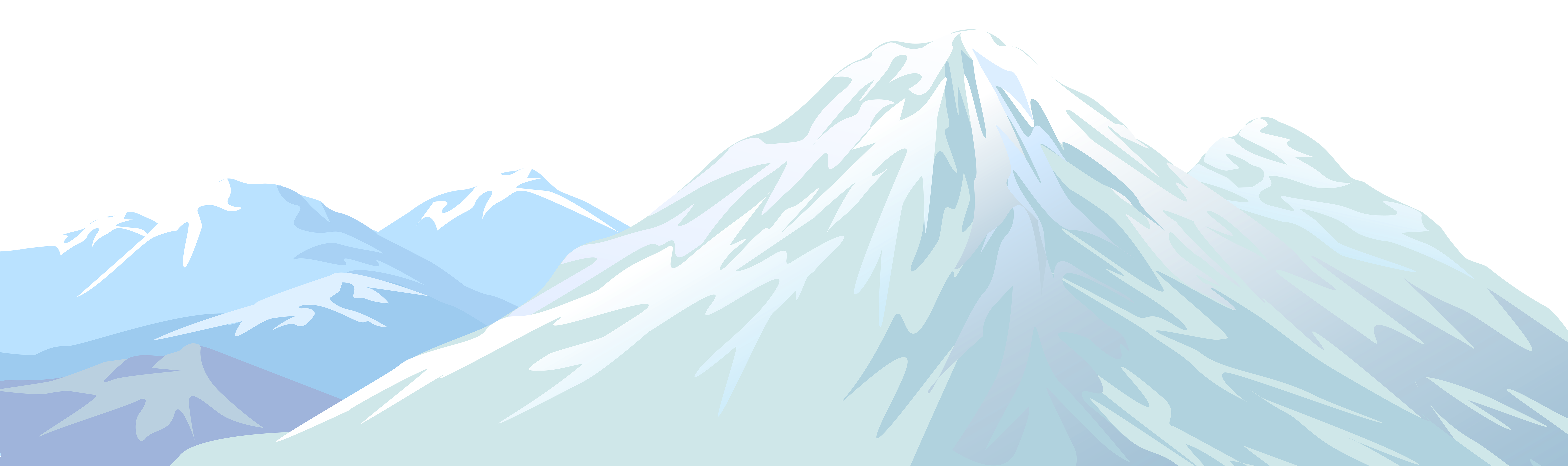 Winter Snowy Mountain Transparent PNG Clip Art Image.