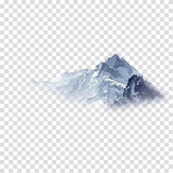 Mountain top illustration, Snowflake Mountain, Hazy.