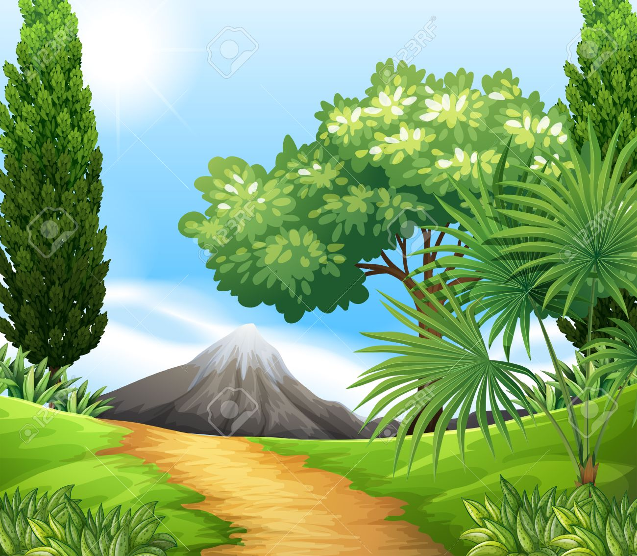 Scenery of nature with trees and mountains.