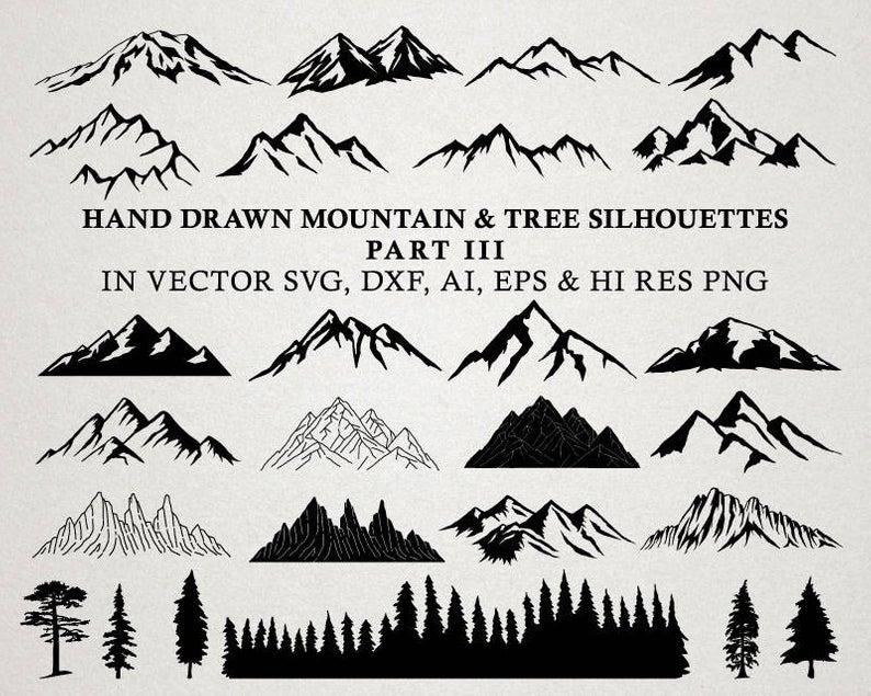 Hand Drawn Mountain Clipart.