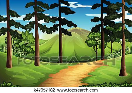 Scene with tall trees and mountain Clipart.