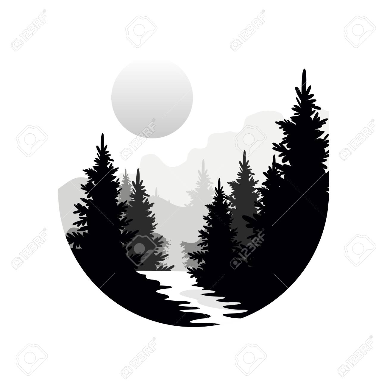 Beautiful nature landscape with silhouettes of forest coniferous...