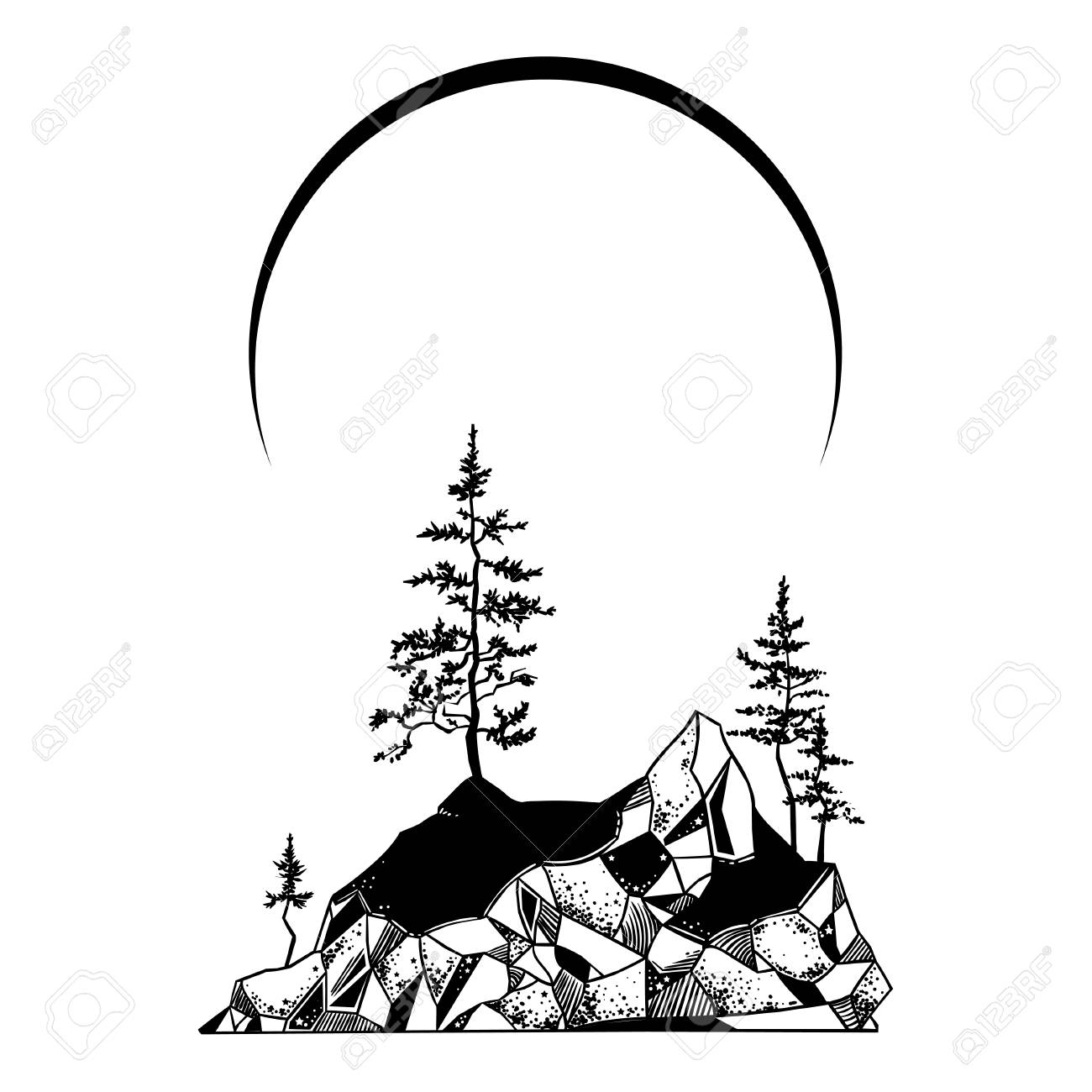Mystic island landscape with pine trees and mountains. Vector...
