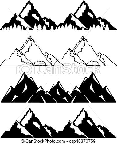 Set of mountains with snow and trees. Vector illustration.