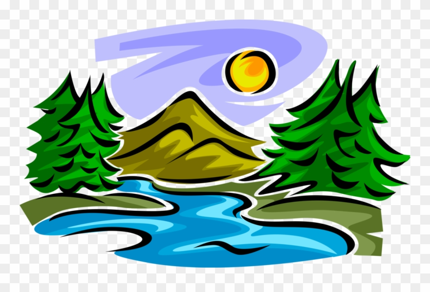 Mountain Stream With Trees Clipart Download.